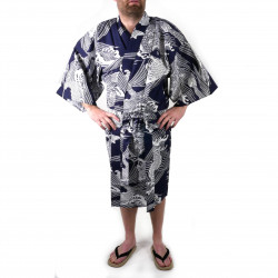 Japanese traditional blue navy cotton happi coat kimono carp for men