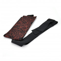 Japanese black and red vintage obi belt, KAMON, emblems