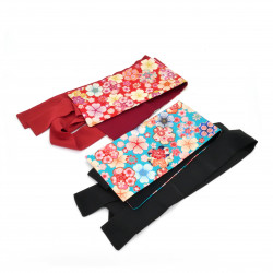 Japanese red or blue vintage obi belt, HANA, flowers