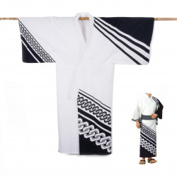 Japanese cotton prestige yukata for men KUROGUSARI white