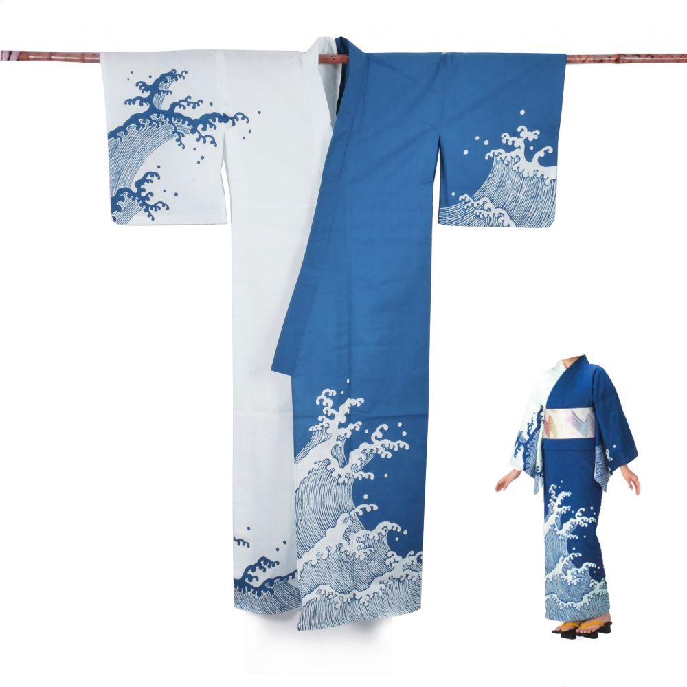 Japanese cotton prestige yukata for women SHIRANAMI blue