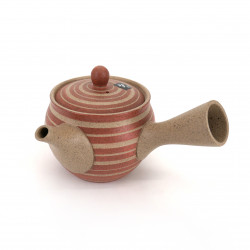japanese red kyusu teapot in terracotta tokoname KAN