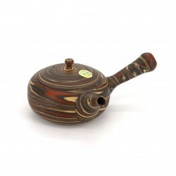 japanese kyusu brown teapot tokoname in terracotta FUSEN