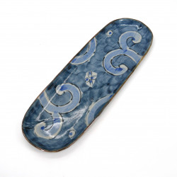 Large japanese rectangular sushi plate, KARAKUSA, blue and gray