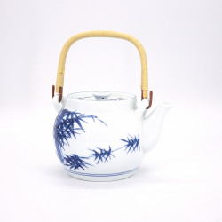 japanese white ceramic teapot with handle bamboo SHIROTAKE