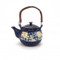 japanese blue teapot in ceramic flowers KARAKUSA
