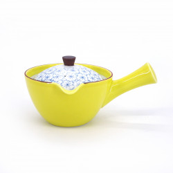 japanese yellow kyusu teapot in ceramic flowers KIISAKURA