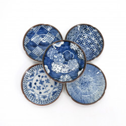 set of 5 small Japanese plates, KOZOME, blue patterns