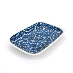 small rectangular Japanese plate, TAKO KARAKUSA, blue