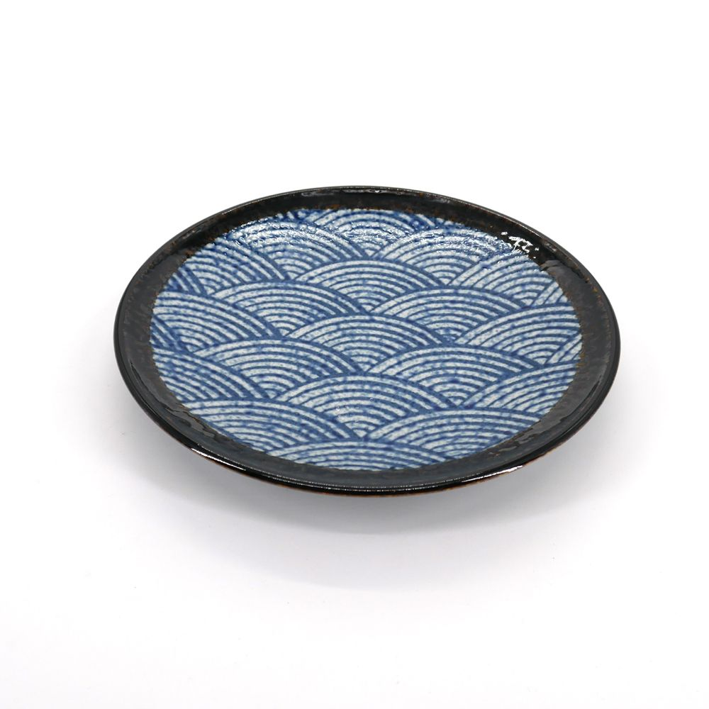Japanese blue ceramic plate Ø23cm, SEIGAIHA, wave