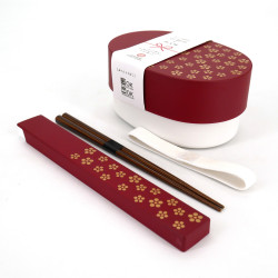 Oval japanese lunch box, UMEMON, red