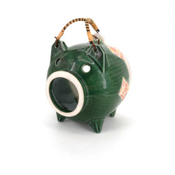 Terracotta table ornament, BUTA MIDORI, green pig