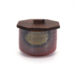 Japanese ceramic red bowl with wooden lid, IGA