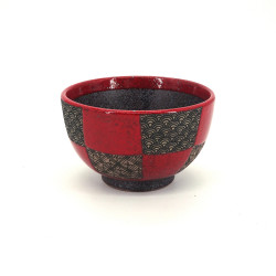 Japanese red bowl checkerboard patterns SEIGAIHA wave