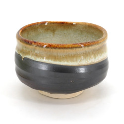 Japanese tea bowl for ceremony - chawan, KASUGA, grey and gold