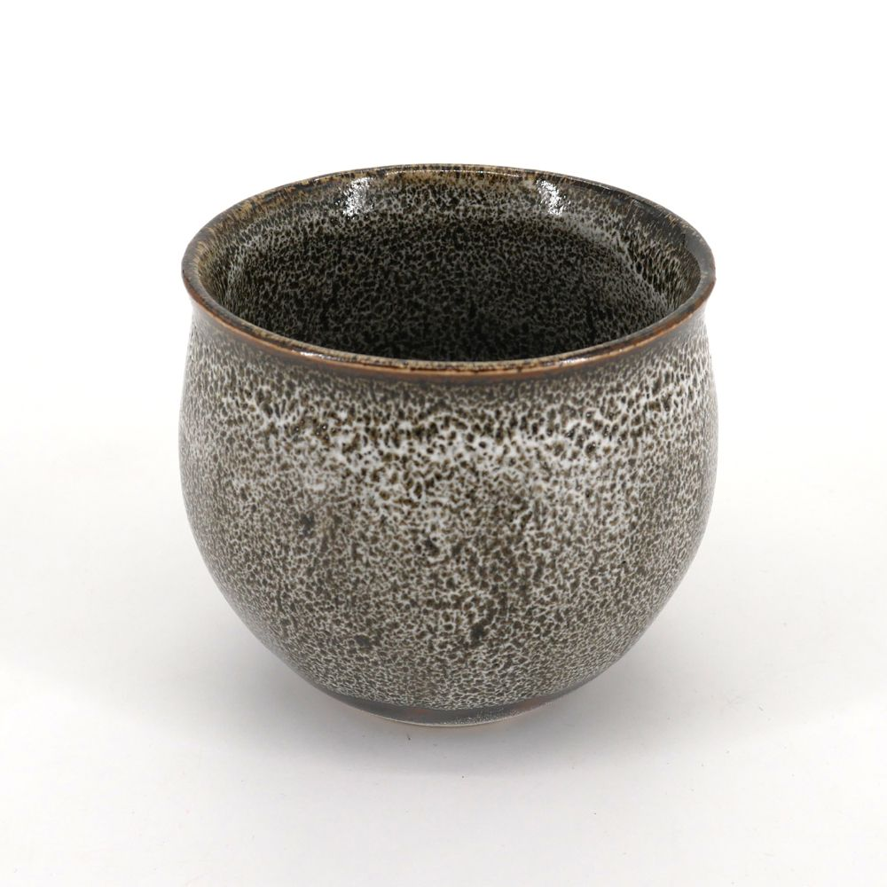 japanese black and white big teacup TENMOKU KUBIRE