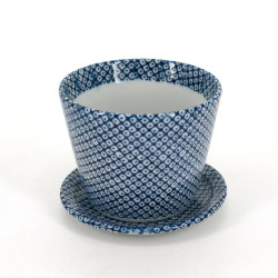 Japanese soba cup with blue patterns in ceramic SHIBORI