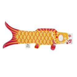 manche à air en forme de carpe koi jaune KOINOBORI INDIAN