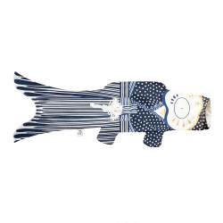 blue koi carp-shaped windsock KOINOBORI KIMONO BOY