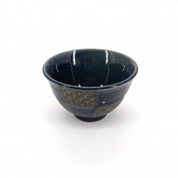 small blue japanese rice bowl in ceramic, SEIGAIHA, checkered