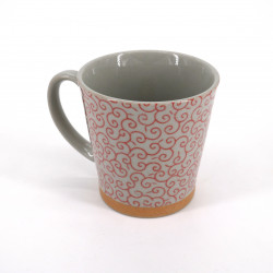Japanese ceramic tea mug with handle KARAKUSA red