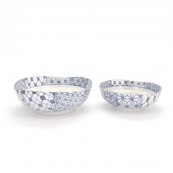 blue Japanese 2 flared bowls set in ceramic sashiko ORIN