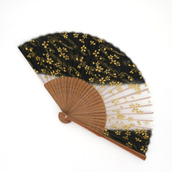 japanese golden fan made of silk and bamboo, GORUDO, cherry blossoms