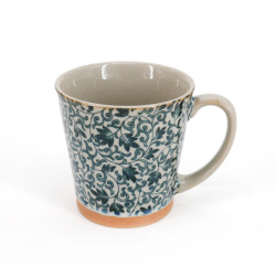 Japanese ceramic tea mug with handle SARASA blue flowers