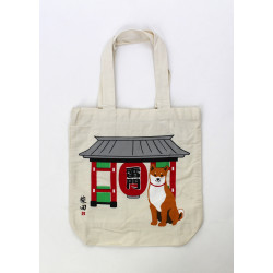 Japanese beige cotton A4 size bag, TEMPLEDOOR, red