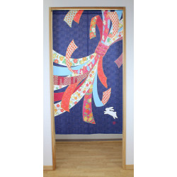 japanese noren curtain in polyester 85x150cm, RIBBON, blue