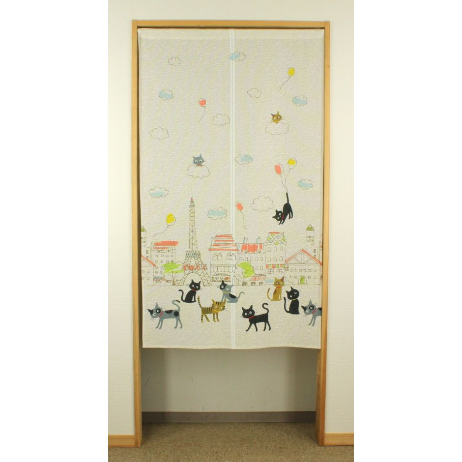japanese white noren curtain in polyester, PARIS, cats