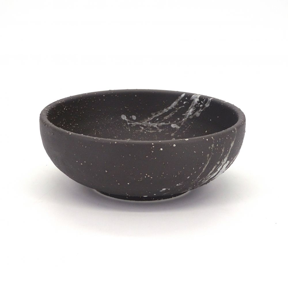 japanese bowl in ceramic Ø17x6,2cm FUBUKI black and white brush
