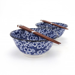 Japanese 2 ramen bowls set in ceramic with chopsticks SAKURA MOMIJI blue