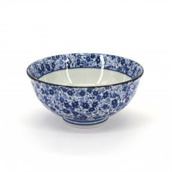 small blue japanese rice bowl in ceramic, KOBANA Ø11,6cm flowers