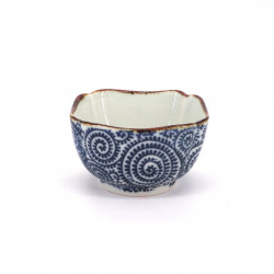 small blue square japanese rice bowl in ceramic, TAKOKARAKUSA 9.3cm patterns