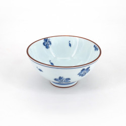 small blue japanese rice bowl in ceramic, SAKURA flowers