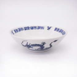 japanese noodle ramen bowl in ceramic RYU, blue and white