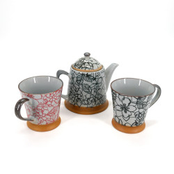 Japanese tea set with 1 teapot and 2 cups 3 pieces HANA red and black
