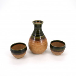 Japanese sake service with 2 glasses and 1 bottle, CHA, brown