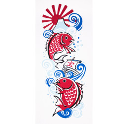 Japanese cotton towel TENUGUI KOI carps