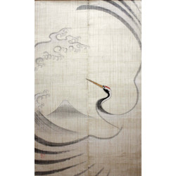 beige Japanese curtain NOREN 100% linen handpainted crane and mt. Fuji