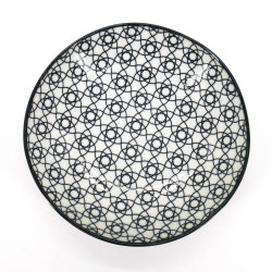 Japanese ceramic plate, STRIPE, black flowers