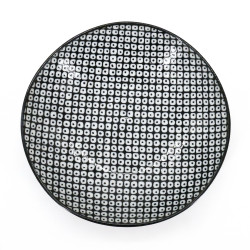 Japanese ceramic plate, RAINDROP, black patterns