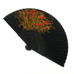 black japanese fan 22cm for men, RYÛ, golden dragon