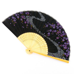Japanese black fan 21cm for women, SAKURA, flower currents