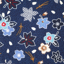Blue Japanese cotton fabric sakura and momiji patterns made in Japan width 112 cm x 1m