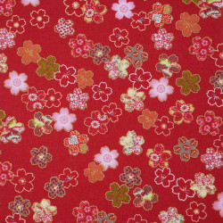 Red Japanese cotton fabric sakura flowers made in Japan width 110 cm x 1m