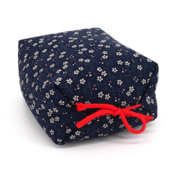 Japanese cushion stuffed with buckwheat husks, NAMI, dark blue