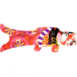 Blue koi carp-shaped windsock KABUKI SAMURAI