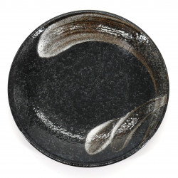 Japanese black ceramic plate Ø23cm, ARAHAKE, brush